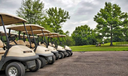 Line-up of golf carts